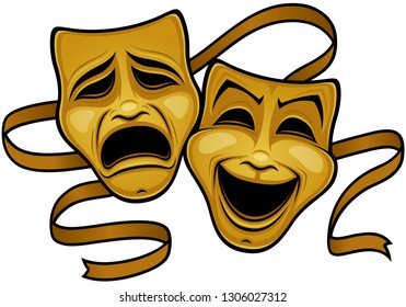 Gold Comedy And Tragedy Theater Masks. Vector illustration of gold comedy and tragedy theater masks with a gold ribbon.