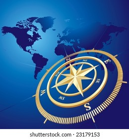 Gold compass with world map background, vector illustration