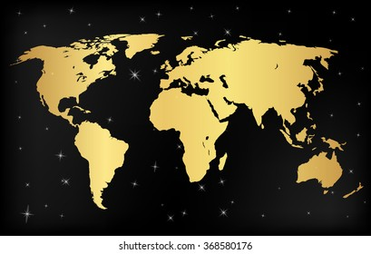 Gold  concept vector map of the world for Web and Mobile Applications isolated on background. Vector illustration, creative template design, Business software and social media, origami.