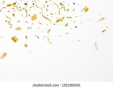 Gold confetti background, isolated on transparent background