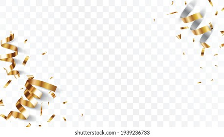 Gold confetti banner, isolated on transparent background
