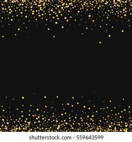 Gold confetti. Borders with gold confetti on black background. Vector illustration.