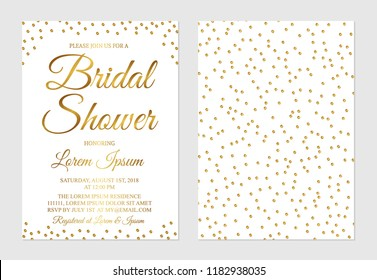 Gold confetti bridal shower invitation card front and back side. Golden glittering polka dots bridal party invite. Wedding stationery. Vector illustration. Easy to edit template for your projects.