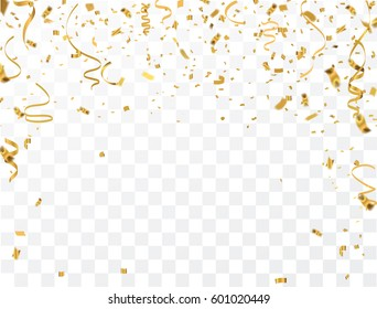 Gold confetti celebration.