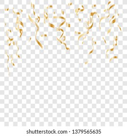 Gold confetti celebration . Celebration background template with confetti and gold ribbons.  Vector illustration EPS10