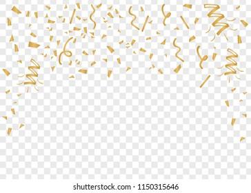 Gold confetti celebration. Celebrate gold vector background