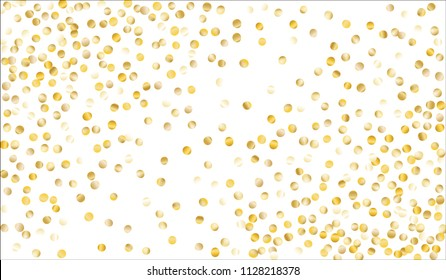 Gold Confetti. Festive Texture with Tinsels on White Background. Dark Luxury Pattern for Christmas and New Year Decoration, Birthday Invitation, Poster or Greeting Card. Vector Gold Confetti.