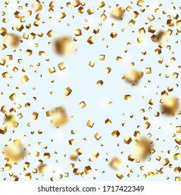 Gold Confetti. Isolated Golden Cube Particles. Geometric Anniversary Card. Chaotic Confetti Backdrop. Foil Border. Vector Square Bokeh. Iridescent Background. Birthday Card with Metallic Texture.