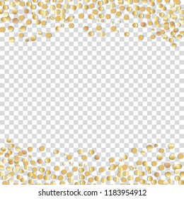 gold confetti isolated on a transparent background. Vector illustration