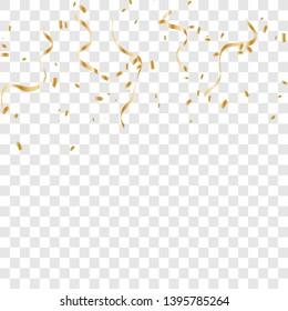 Gold confetti isolated. vector illustration