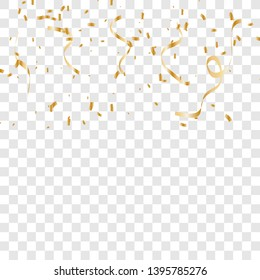Gold confetti isolated. vector illustration