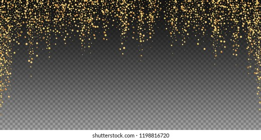 Gold confetti luxury sparkling confetti. Scattered small gold particles on transparent background. Awesome festive overlay template. Resplendent vector illustration.