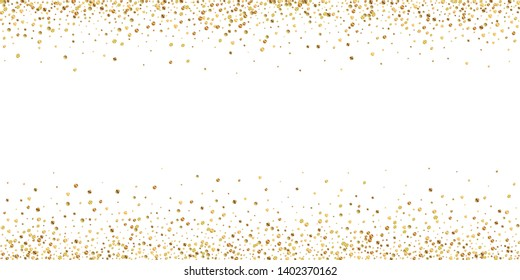 Gold confetti luxury sparkling confetti. Scattered small gold particles on white background. Artistic festive overlay template. Mind-blowing vector illustration.