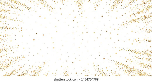 Gold confetti luxury sparkling confetti. Scattered small gold particles on white background. Captivating festive overlay template. Worthy vector illustration.