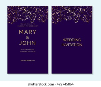 Gold confetti on purple background design layout for Wedding invitation, thank you card, save the date cards, baby shower, menu, flyer, template. Elegant luxury wedding invitation.