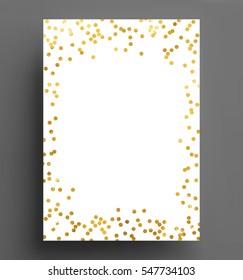 gold confetti polka dot background Size A4 vector illustration