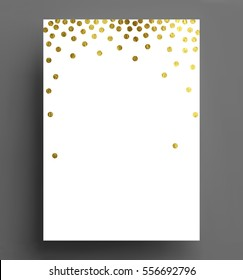 gold confetti polka dot background Size A4 vector illustration