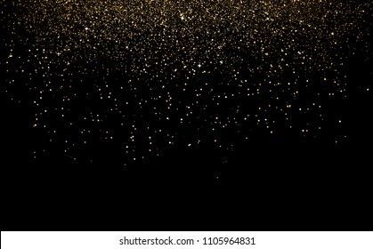 Gold confetti  powder falling and scatter  celebration decoration holiday party concept on black space abstract background vector illustration