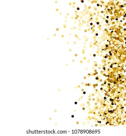 Gold confetti. Gold sequins isolated on white background.