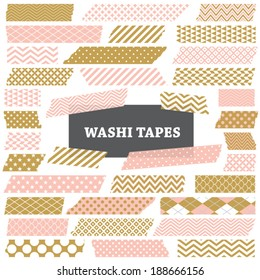 Gold, Coral Pink and White Washi Tape Strips with Torn Edges and Different Patterns. Semitransparent. Photo Frame Border, Web Blog Layout Element, Clip Art, Scrapbook Embellishment. Global colors used