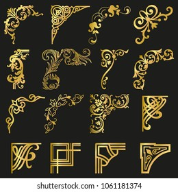 Gold Corners and Borders Decorative Vintage Frames Design Elements Set