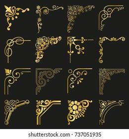 Gold Corners and Borders Decorative Vintage Frames Design Elements Set vector