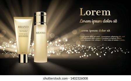 Gold cosmetic products with shining light and glitter