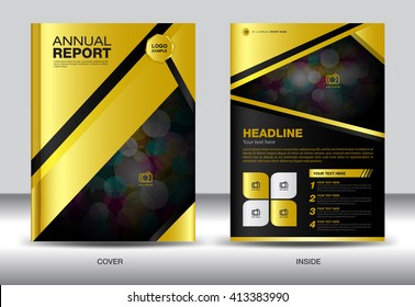 Gold cover Annual report template, gold cover design, brochure flyer, infographics elements, leaflet, booklet, profile, poster, book, catalog, magazine ads,vector
