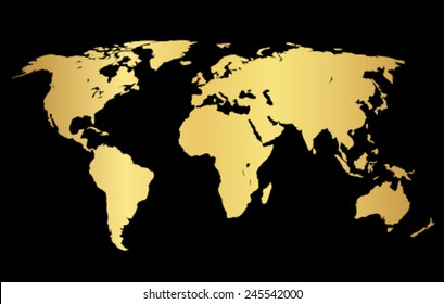 Gold creative concept vector map of the world for Web and Mobile Applications isolated on background.
