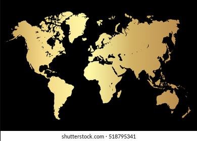 Gold creative concept vector map of the world for Web and Mobile Applications isolated on background. Vector illustration eps 10.