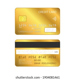Gold Credit Card. Empty, Golden plastic card template isolated on white background. Realistic style. Business and finance concept. Vector illustration EPS 10.
