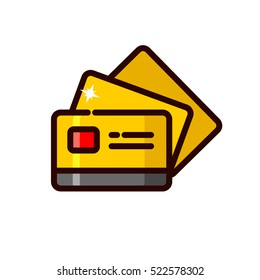 Gold credit card vector illustration, outline style icon