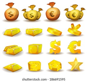 Gold Credit, Money, Coins Set/ Illustration of a set of glossy and bright cartoon gold and credits icons, ingot and symbols of currency, for game user interface