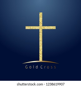 Gold cross on hill logotype. Emblem of christian event & education. Greeting card with glitter and sparkles on dark blue background. Isolated symbol, graphic design template.