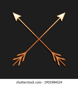 Gold Crossed arrows icon isolated on black background. Long shadow style. Vector.