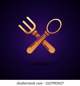 Gold Crossed fork and spoon icon isolated on dark blue background. Cooking utensil. Cutlery sign.  Vector Illustration