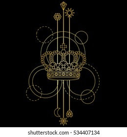 Gold crown abstract pattern and geometric elements on black background. Modern tattoo symbol. Textile print.