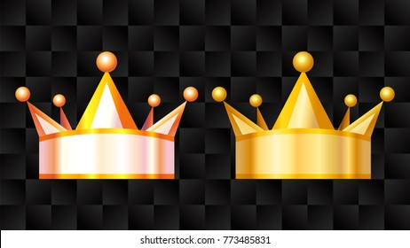 Gold Crown black background, Vector Illustration