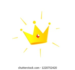 Gold Crown icon color illustration. The premium account.