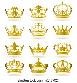 Gold crown icons set. Illustration vector.