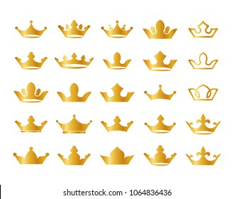 Gold crown icons vector set