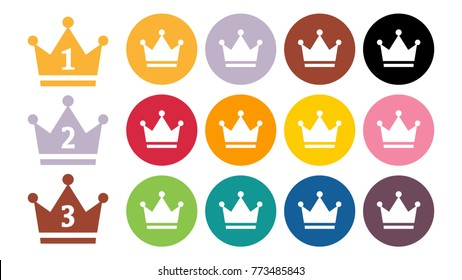 Gold Crown Isolated, Vector Illustration