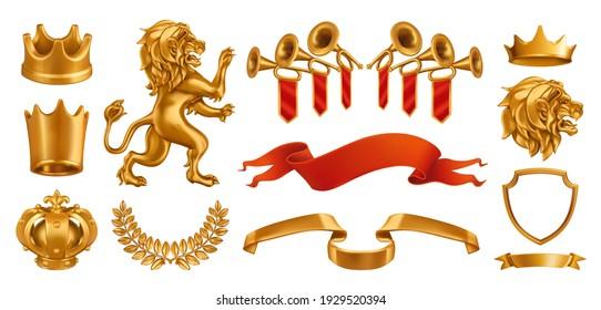 Gold crown of the king. Laurel wreath, fanfare, lion ribbon. 3d vector realistic set