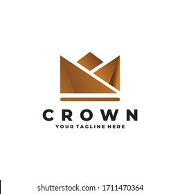 gold crown logo design isolated