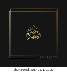 GOLD CROWN. Queen. Emblem, logo, badge. drawing. The background is dark. The element of graphic design, printing on t-shirts. Vector images for printing on fabric or paper.