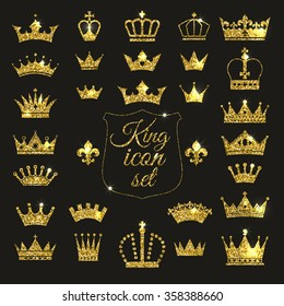Gold crown set. Glitters set of king crowns.