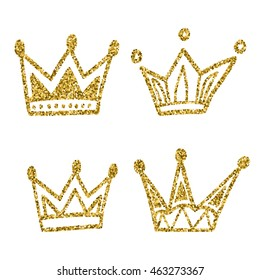 Gold crown set isolated on white background. Glitters set of king crowns. Vector Illustration. Graphic design editable for your design.
