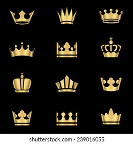 Gold Crowns Set - Set of gold crowns icons.  Colors in gradients are global, so they can be changed easily.  Each element is grouped individually for easy editing.