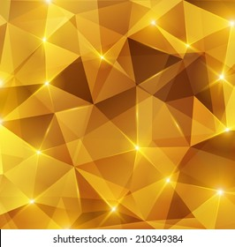 Gold crystal abstract pattern. Vector illustration. Honey background. Sparkles, lights.