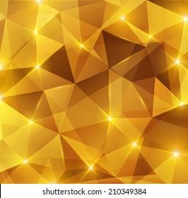 Gold crystal abstract pattern. Vector illustration. Honey background. Sparkles, lights.